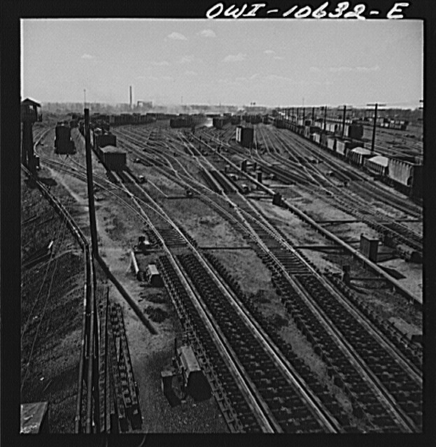 Chicago, Illinois. General view of south classification yard at an Illinois Central Railroad yard showing retarders in the foreground