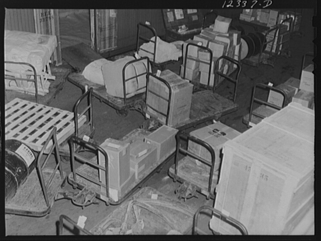 Chicago, Illinois. Goods on a loading platform at the freight house at a Chicago and Northwestern Railroad