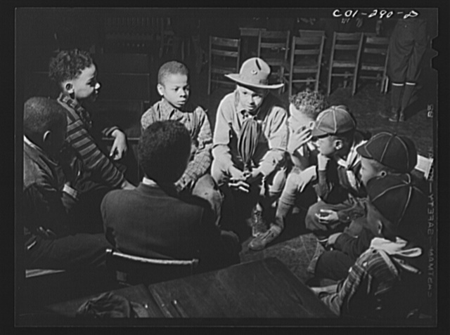Chicago, Illinois. Ida B. Wells Housing Project. A meeting of the Cub Scouts in the community center