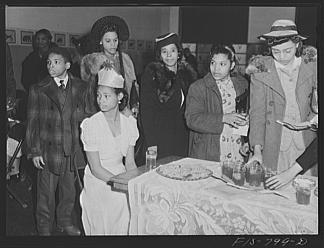 Chicago, Illinois. Ida B. Wells Housing Project. Queen of Wellstown at a Sunday forum