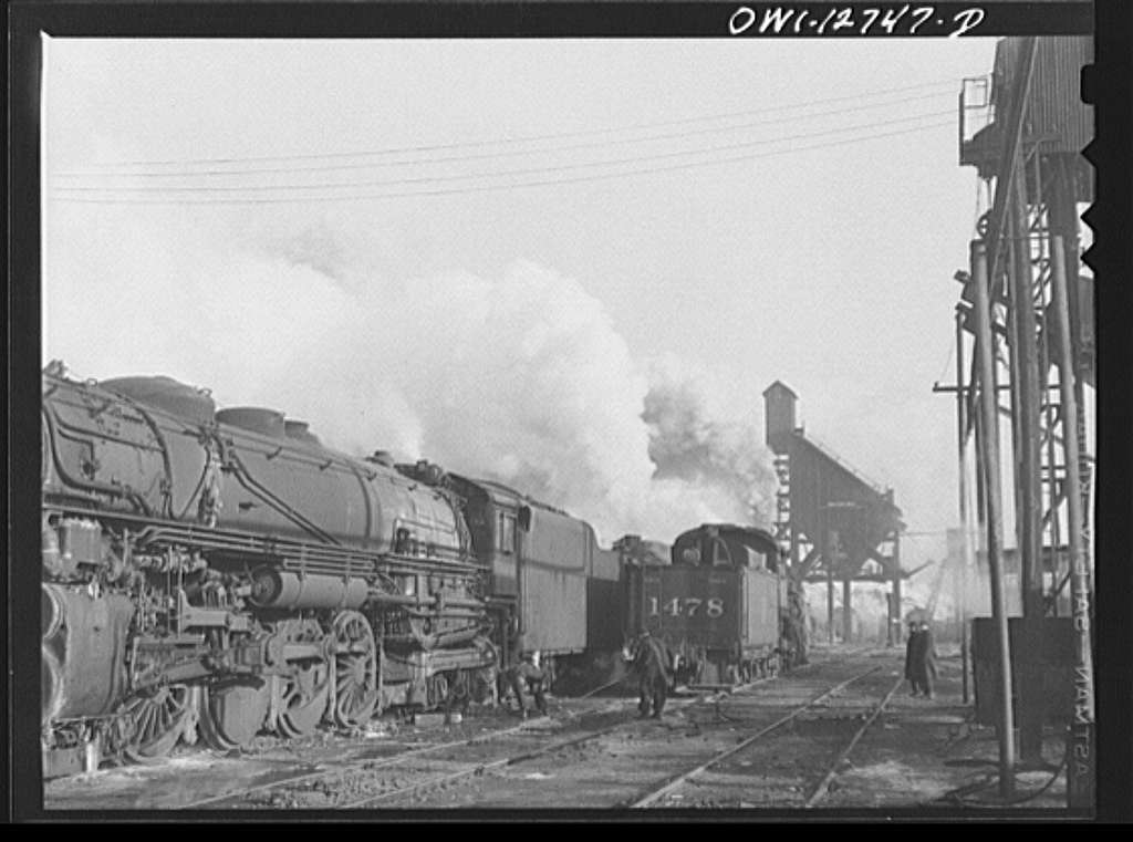 Chicago, Illinois. Locomotives over the ash pit at the roundhouse and coaling station at the Chicago and Northwestern Railroad yards