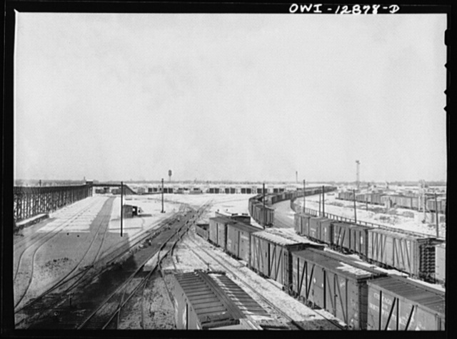 Chicago, Illinois. Looking toward the freight house at a Chicago and Northwestern Railroad yard