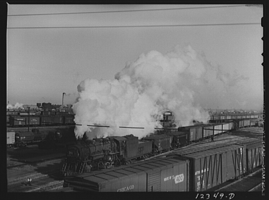 Chicago, Illinois. Making up the trains in one of the Chicago and Northwestern Railroad's classification yards
