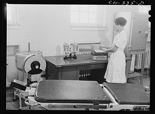 Chicago, Illinois. Newly-arrived equipment for a plasma bank