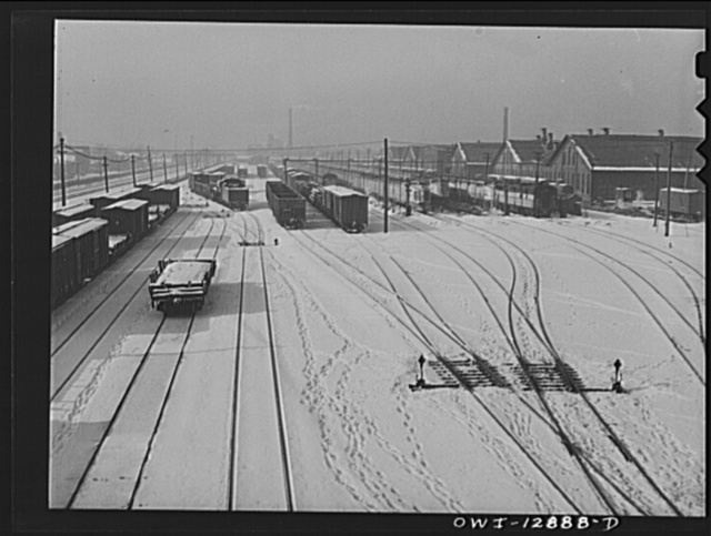 Chicago, Illinois. One of the yards of the Chicago and Northwestern Railroad. On the right are three of the west coast Streamliners