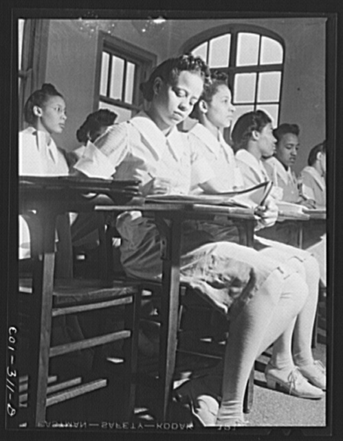 Chicago, Illinois. Provident Hospital. A preliminary student nurse class in bacteriology