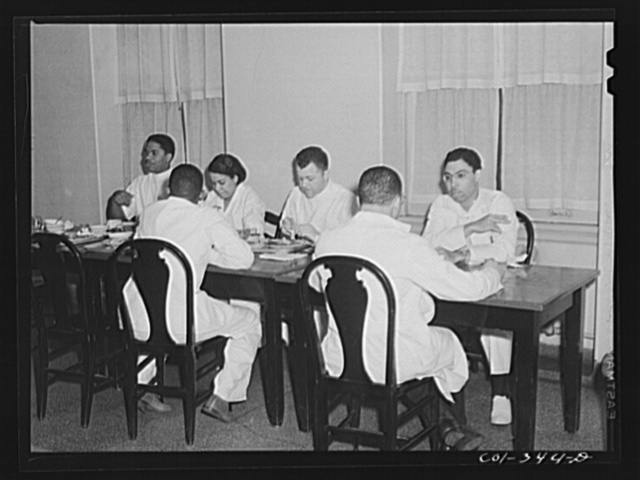 Chicago, Illinois. Provident Hospital. Doctors and interns in the cafeteria