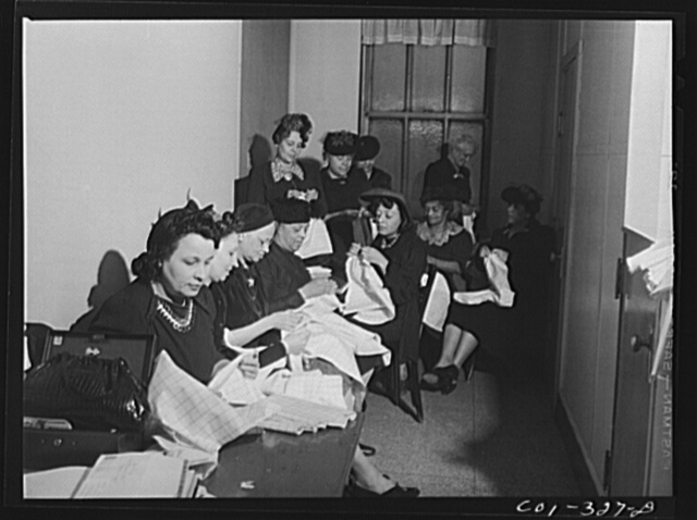 Chicago, Illinois. Provident Hospital. Women's sewing group mending the hospital linen