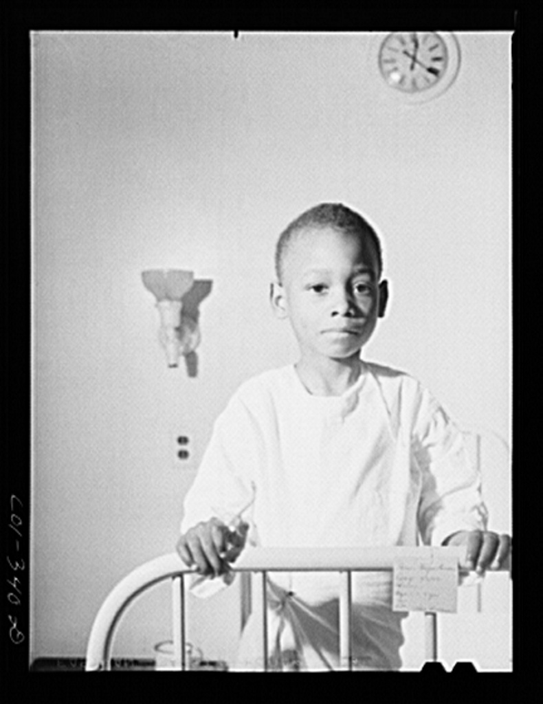 Chicago, Illinois. Provident Hospital. Young patient in the children's ward