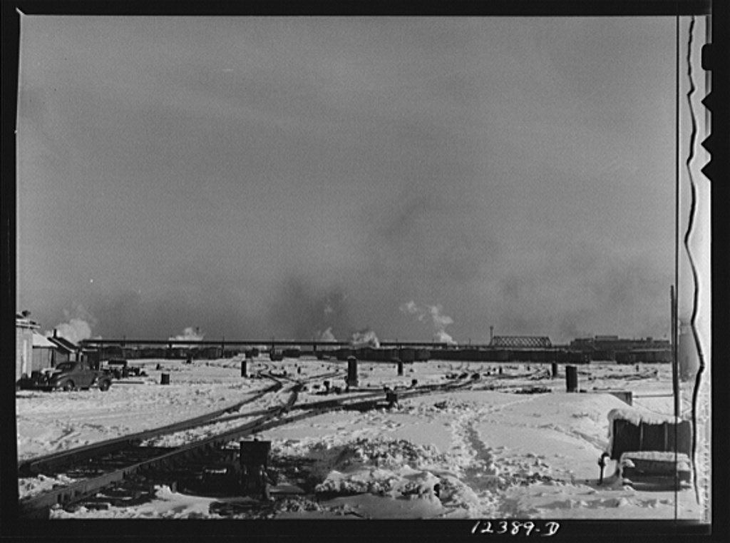 Chicago, Illinois. The hump and classification yards at a Chicago and Northwestern Railroad yard