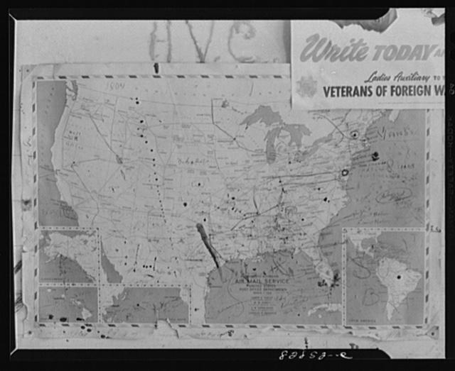 Childersburg, Alabama. Map in the post office. Dirty smudge is Childersburg