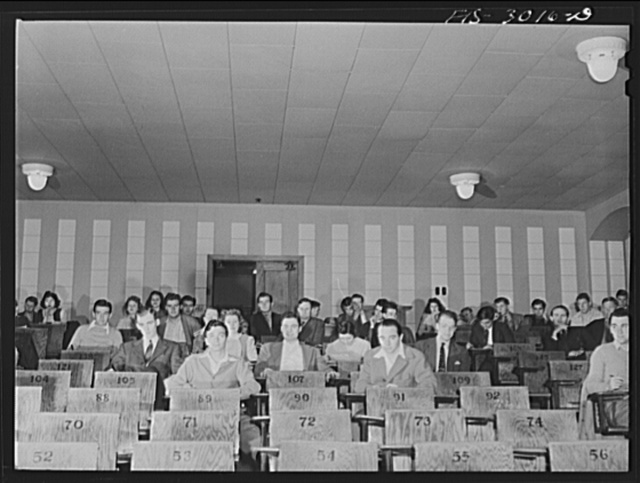 Classroom before an examination. John Cockle is number 105. University of Nebraska, Lincoln