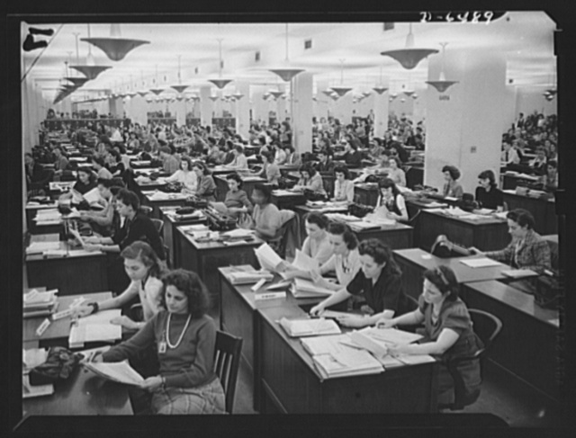 Clerical workers processing forms for production requirement plan, Priorities Division, War Production Board (WPB)