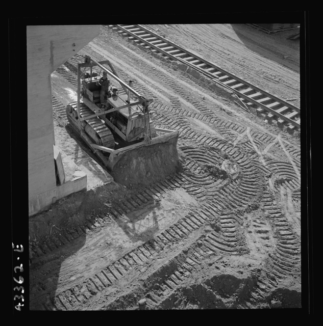 Columbia Steel Company at Geneva, Utah. Bulldozer used in grading during the construction of a new steel mill which will make important additions to the vast amount of steel needed for the war effort