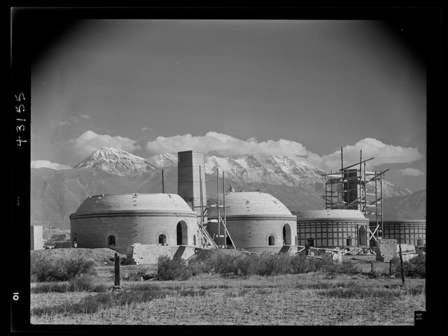 Columbia Steel Company at Geneva, Utah. Metal casings for concrete piles that will serve as foundations for a new steel mill under construction