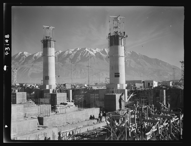 Columbia Steel Company at Geneva, Utah. Partly finished open hearth furnaces and stacks for a steel mill under construction which will soon be producing vitally needed steel