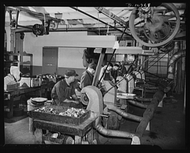 Conversion (auto accessory plant). Workers at a New York City  plant polishing parts for field sterilizers for the U.S. Medical Corps. This firm, engaged formerly in the manufacture of automobile accessories, has been converted ninety percent to war production