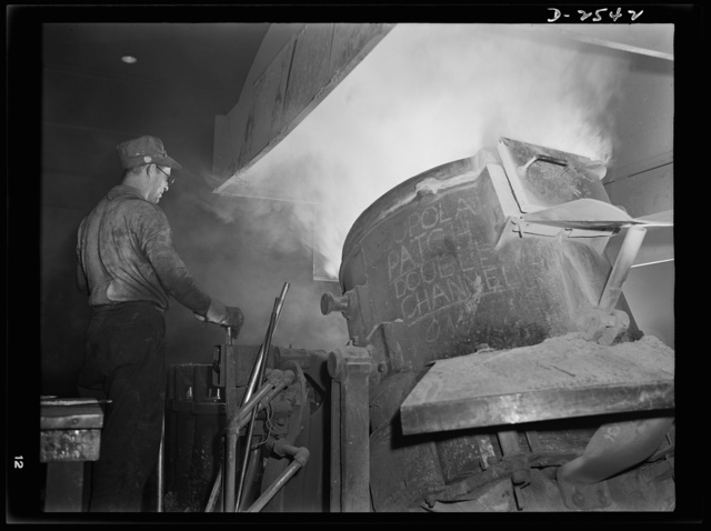 Conversion. Copper and brass processing. Casting a billet from an electric furnace. Modern electric furnaces have helped considerably in speeding the production of brass and other copper alloys for national defense. Here the molten metal is poured or cast from the tilted furnace into a cylindrical mold to form a billet. The billet later is worked into rods, tubes, wires or special shapes for a variety of defense uses. Chase Brass and Copper Company, Euclid, Ohio