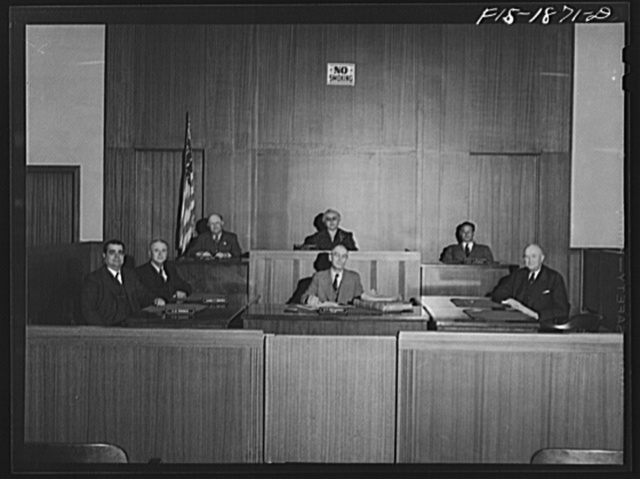 Council meeting, San Leandro, California. This is a five-member board; the city clerk and city attorney meet with the council board. Mrs. Helen L.C. Lawrence, the mayor and Mr. Anthony B. Thomas, first on left, are both of Portuguese descent