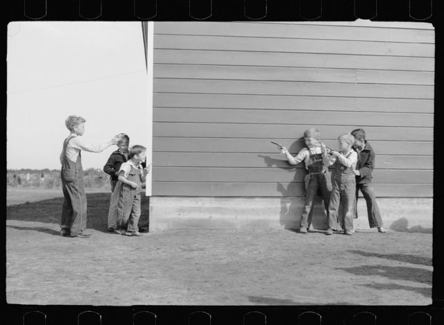 Cowboys and Indians, schoolchildren, FSA (Farm Security Administration) camp, Weslaco, Texas