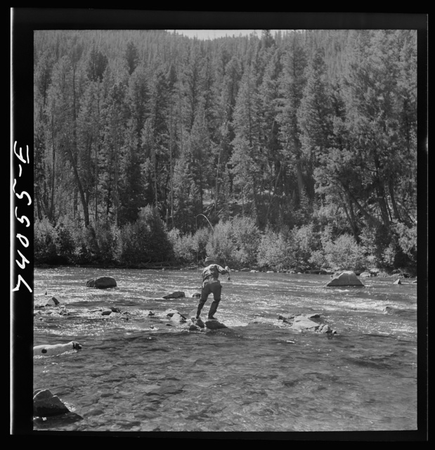 Custer County, Idaho. Fishing in the Salmon River