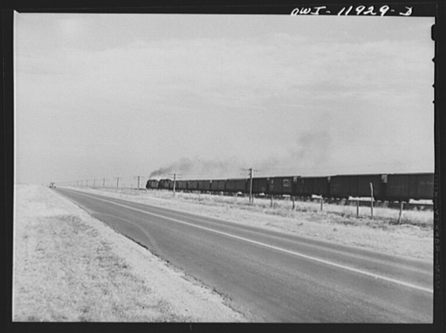 Deaf Smith County, Texas. Train going across the Texas purchase