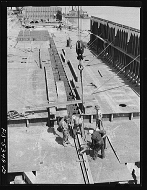 Decatur, Ala. Ingalls Shipbuilding Co. A bottom of one of the barges under construction