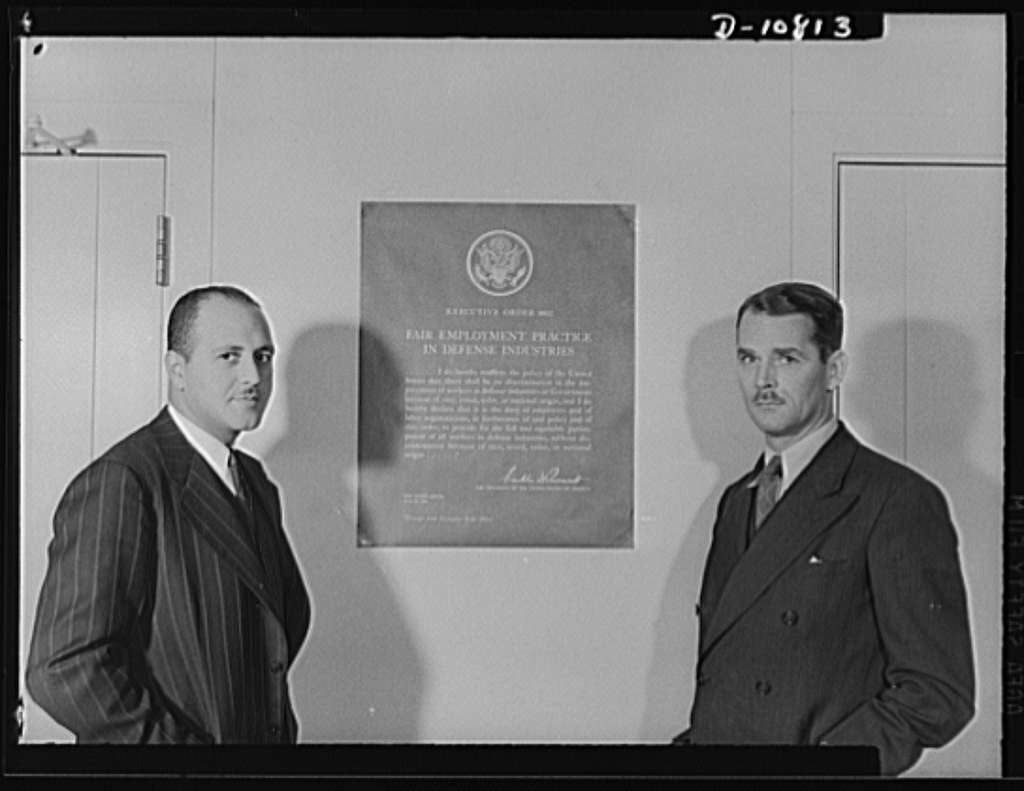 Defense plant poster. Robert C. Weaver, chief of Negro Employment and Training Branch of Labor Division, Office of Personnel Management (OPM). Lawrence Cramer, executive secretary of President Committee on Fair Employment Practice