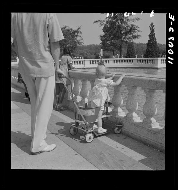 Detroit, Michigan. Child in toddler go-cart