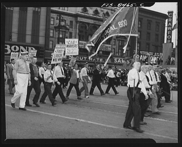 Detroit, Michigan. Ford Local 600 of the Congress of Industrial Organizations (CIO) carrying banners in the Labor Day parade