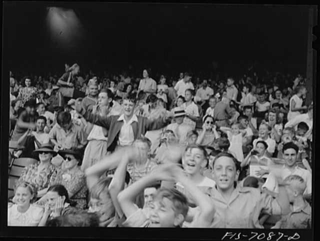 Detroit, Michigan. Kids at a ball game at Briggs Stadium