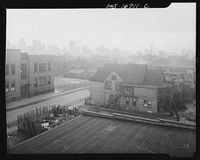 Detroit, Michigan. Looking towards downtown from the slum area. These are conditions under which families originally lived before moving to the Sojourner Truth housing project