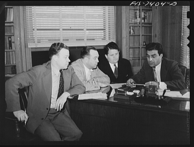Detroit, Michigan. Officals of the United Automobile Workers (UAW). Left to right, Walter P. Reuther, vice-president; R.J. Thomas, president; Richard T. Frankensteen, vice-president; George Addes, secretary-treasurer