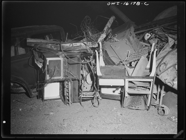 Detroit, Michigan. Scrap collected for salvage at a rally sponsored by the Work Projects Administration (WPA) at the state fairgrounds