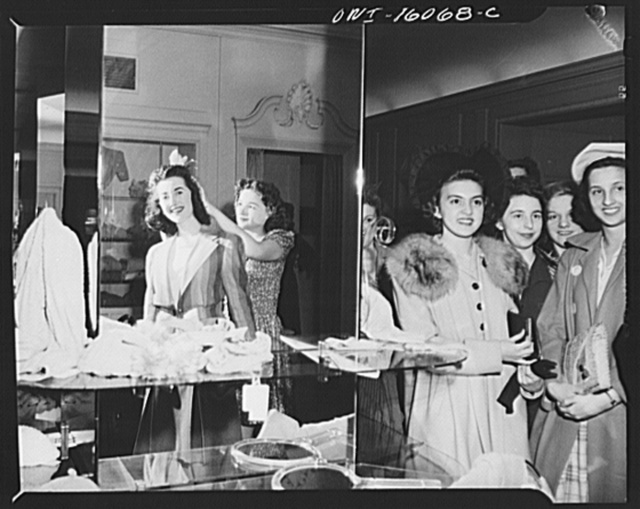 Detroit, Michigan. Style show of clothes worn by better-dressed office workers, presented by the Chrysler Girls' Club of the Chrysler Corporation at Saks Fifth Avenue store