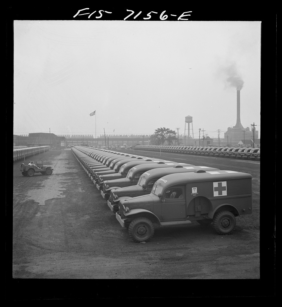 Detroit, Michigan (vicinity). Chrysler Corporation Dodge truck plant. Dodge Army ambulances are here, lined up for delivery to the Army