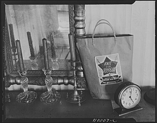 Detroit, Michigan (vicinity). Russian knitting bag and glass candle sticks