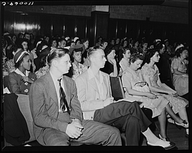 Detroit, Michigan. Youths listening to speakers at the salvage committee meeting