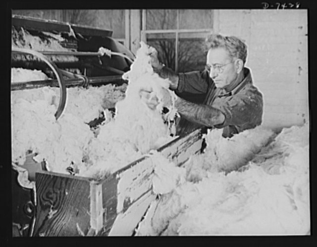 "Discarded stockings go to war. Bleached silk stocking ""material"" being fed into the breaker machine for conversion into thread with which to make powder bags"