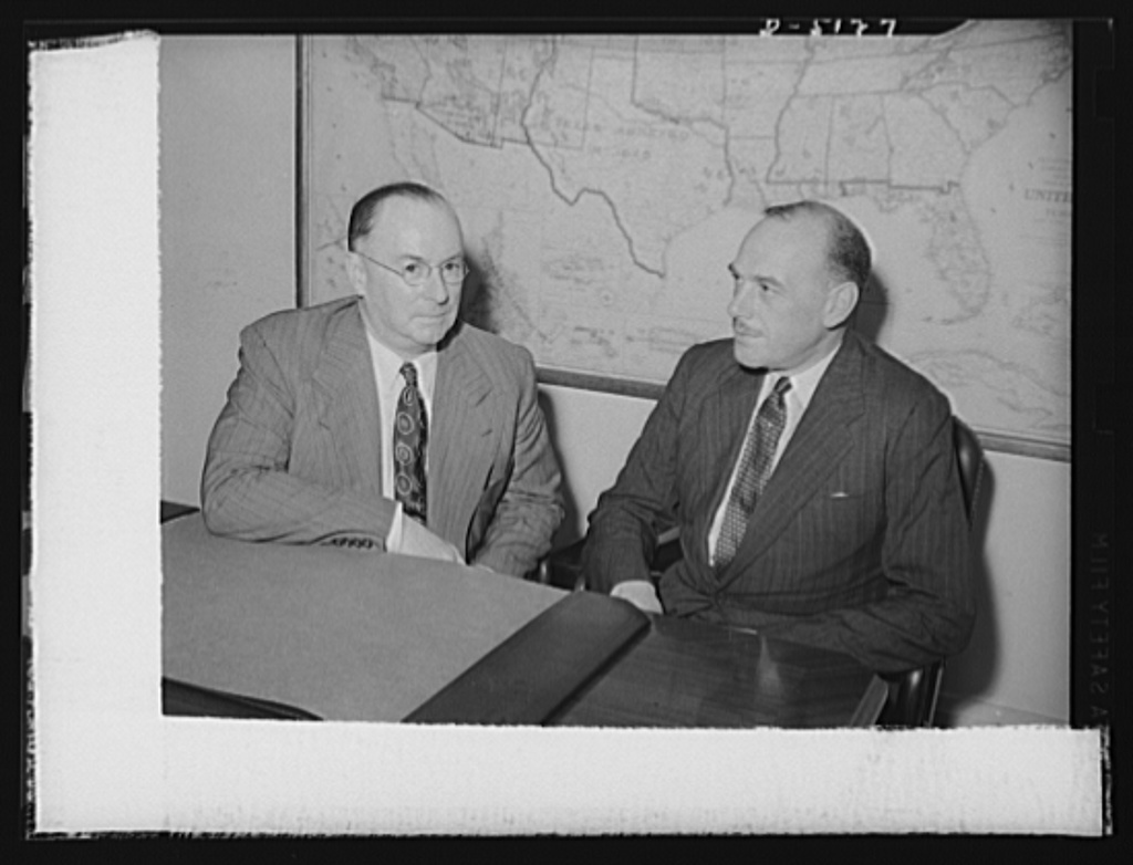 Donald M. Nelson, Chairman of War Production Board (WPB) and Oliver Littleton, British Minister of Supply, at press conference, June 3, 1942