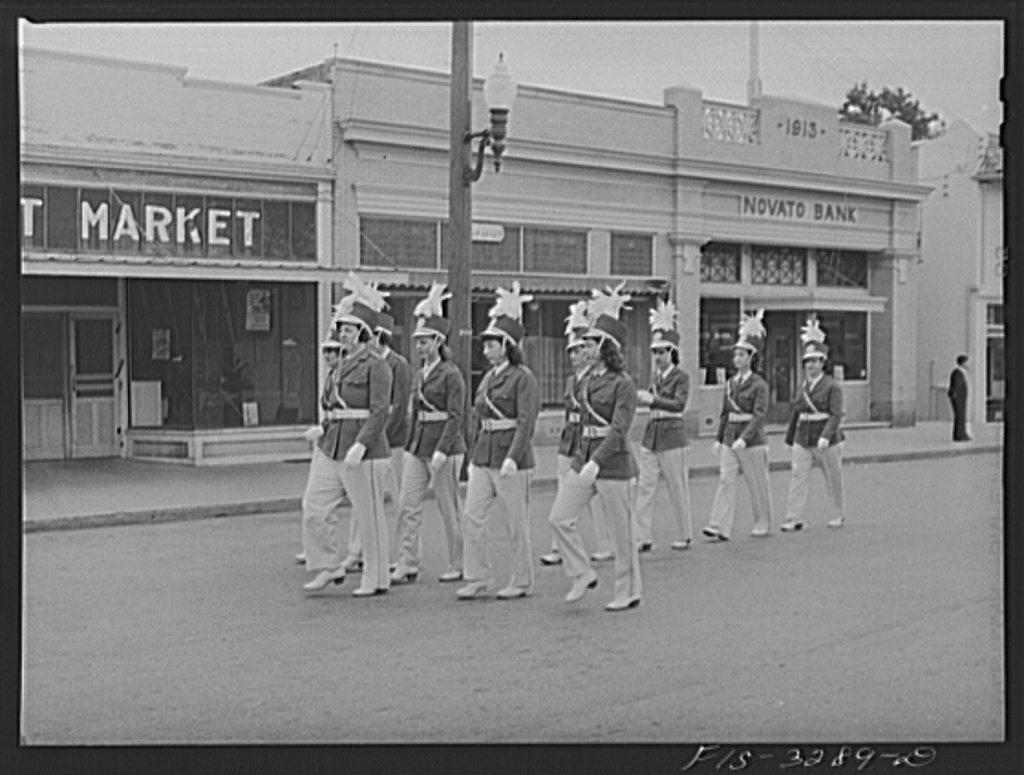 Drill team in the parade of the Holy Ghost Festival of the Portuguese-Americans at Novato, California