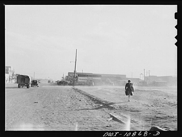 Dumas, Texas. Dust blowing on main street