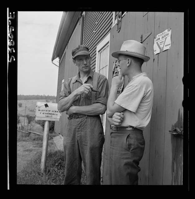 "East Montpelier, Vermont. Charles Ormsbee, at the mailbox on his farm ""Harvest Acres,"" talking over farm bureau matters with a caller"