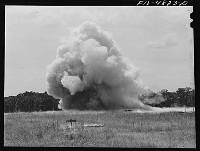 Edgewood Arsenal, Maryland. Gas demonstration. Firing a battery of twenty five Livens projectors (explosion)