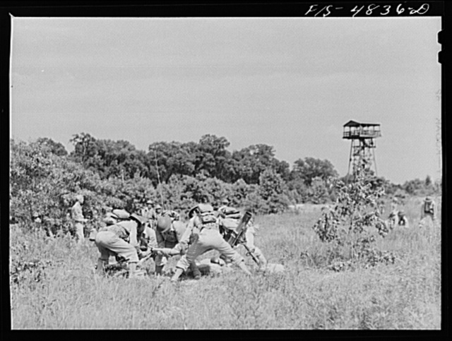 Edgewood Arsenal, Maryland. Gas demonstration. Firing of 4.2 inch chemical mortar