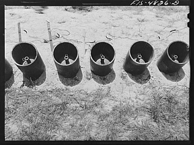 Edgewood Arsenal, Maryland. Gas demonstration. Livens projectors containing gas-filled shells ready to be fired