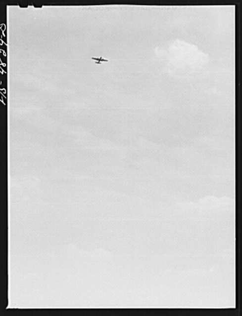 Edgewood Arsenal, Maryland. Gas demonstration. Plane which was used to drop aerial gas bombs during a gas demonstration