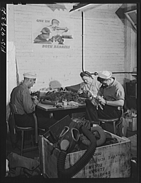Edgewood Arsenal, Maryland. Gas demonstration. Reconditioning gas masks at the gas mask factory