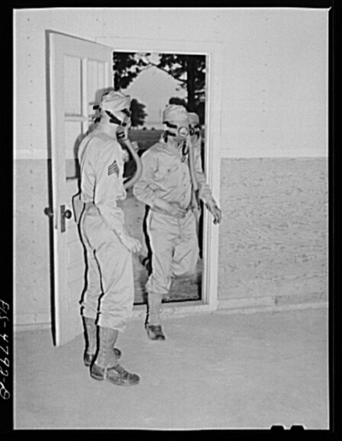 Edgewood Arsenal, Maryland. Gas demonstration. Soldiers entering a gas chamber filled with tear gas