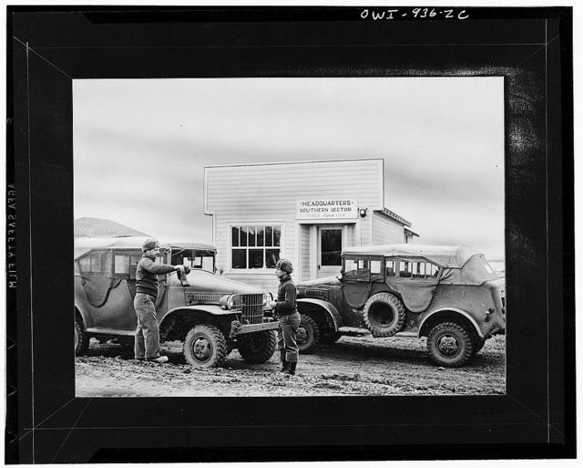 Edmonton (vicinity), Province of Alberta, Canada. Army trucks at southern sector headquarters, along the Alcan Highway route